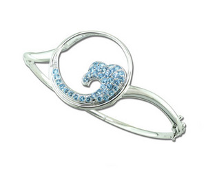 Blue Topaz, Decembers Birthstone Blue-Topaz-Wave-Bangle-76