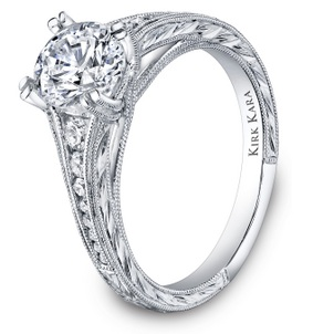 April Birthstone of the Month - Diamond Hand-engraved engagement ring-22