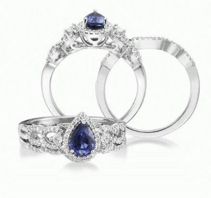 The Different Kinds of Sapphire, Septembers Birthstone Pear-Blue-Sapphire-and-Diamond-Wedding-Ring-20