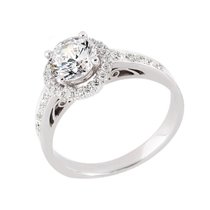 April Birthstone of the Month - Diamond Platinum Semi Mount Engagement Ring-48