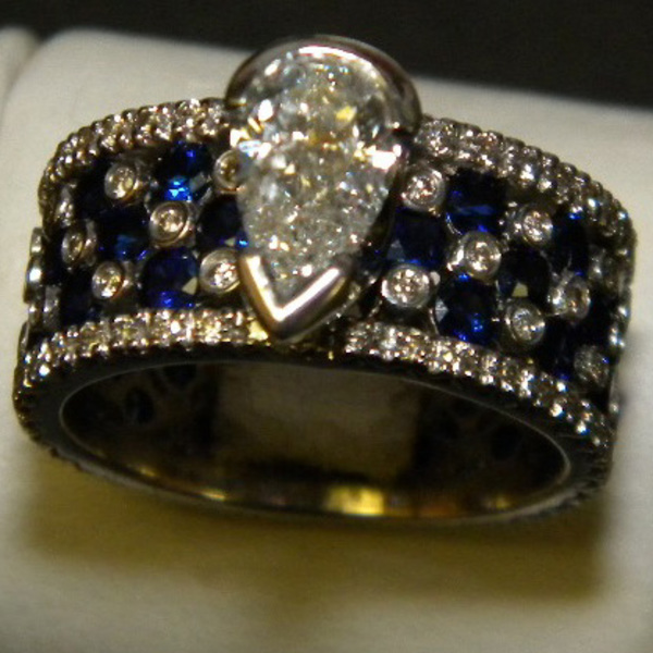 Diamond and Sapphire Wide Band Ring Custom73-1-3