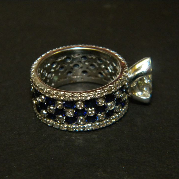 Diamond and Sapphire Wide Band Ring Custom73-5-18