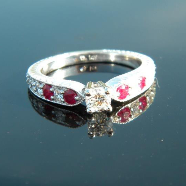 Antique Style Diamond and Ruby Ring Custom77-1-18