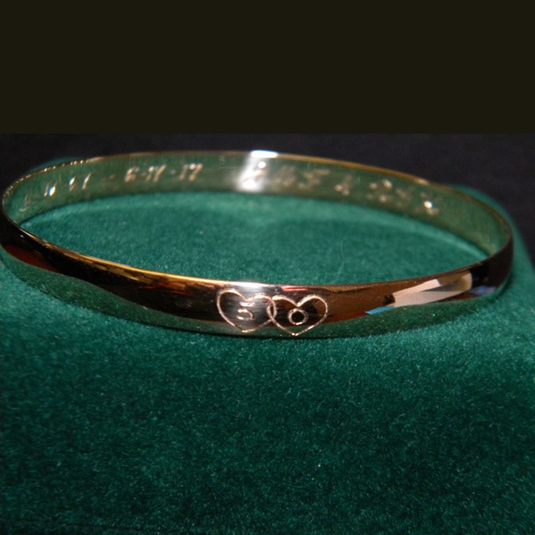 Hand Engraved Anniversary Bangle Engraved Anniversary Bracelet-1-35