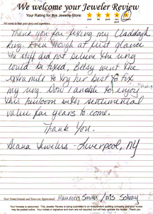 Betsy went the extra mile to try her best to fix my ring. maureen-diana-review-13