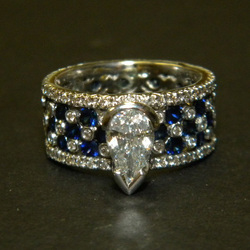 Diamond and Sapphire Wide Band Ring