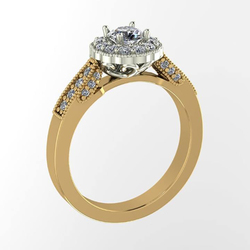 Antique Styled Diamond Halo Ring